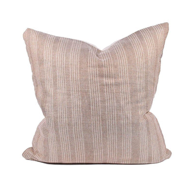 The Thai Pillow has woven, pink and white lines and a white cotton backing.