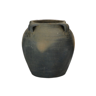 Vintage, antique, rustic, water pot with handles in a dark, blue, charcoal colour.