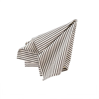 The Ticking Napkin - Black is a black and white striped, woven cotton napkin.