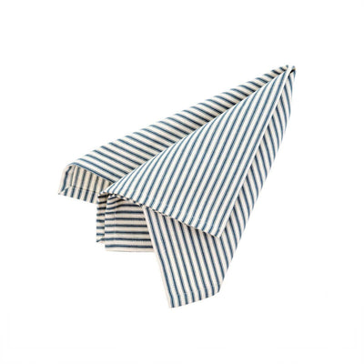 The Ticking Napkin - Navy is a navy and white striped, woven cotton napkin.