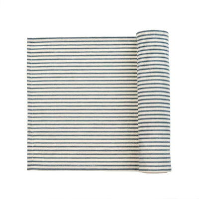 The Ticking Runner - Navy is a navy and white striped, woven cotton table runner.