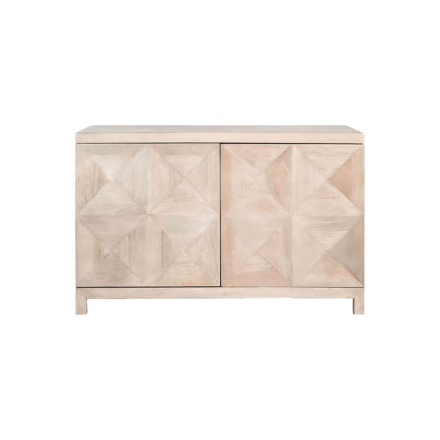 The Cairns Sideboard is made from mango wood in a natural misted ash tone with a diamond pattern carved on the front doors.