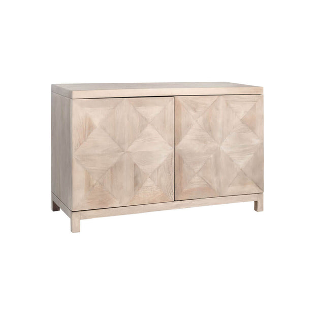 A statement sideboard in a light wood finish with diamond pattern front.