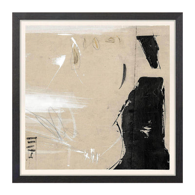 The Trebuchet Detail IV is a neutral abstract drawing with a dark frame under glass.