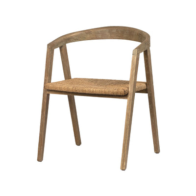 A rustic dining chair made of grey-stained oak wood and features woven seagrass for the seat.