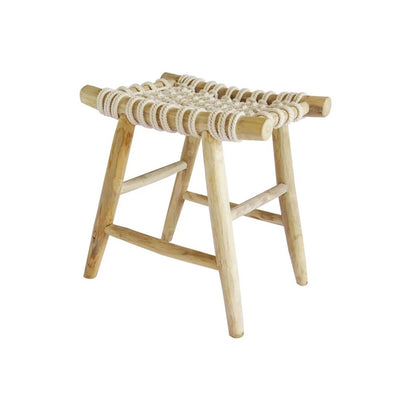 The Yola Stool has a teak branch frame and cotton rope woven seat for a natural look.