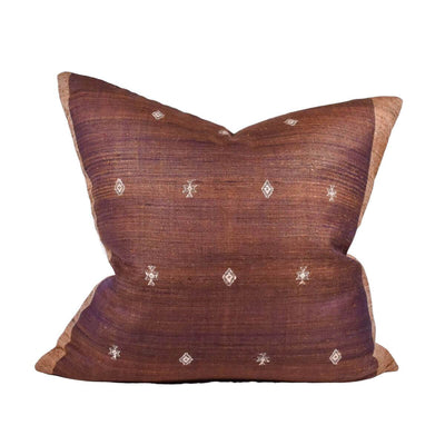 The Tussar Silk Pillow is a silk decorative pillow with a brown patterned colour.