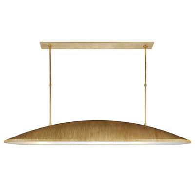 The Utopia Large Linear Pendant in gild finish is a statement piece.  Picture above a dining table.