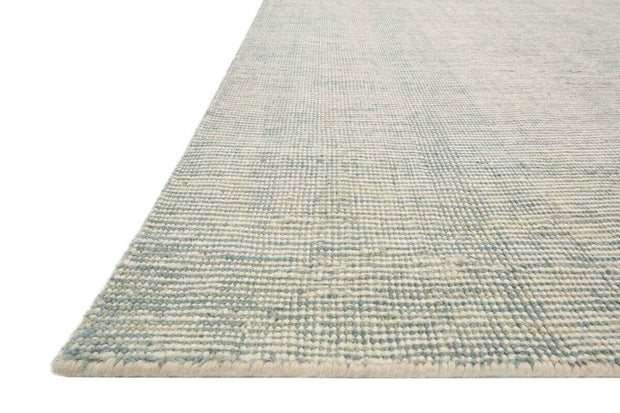 Light blue rug. Hand loomed in India. Lisbon Light Blue Rug texture and details.