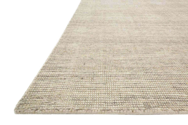 Lisbon Stone Rug details. Textured, neutral rug. Stone coloured, hand loomed rug.