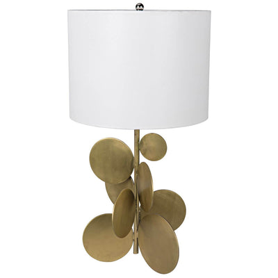 The Minerva Table Lamp with sculptural, brass bubble details and a contrasting white shade.