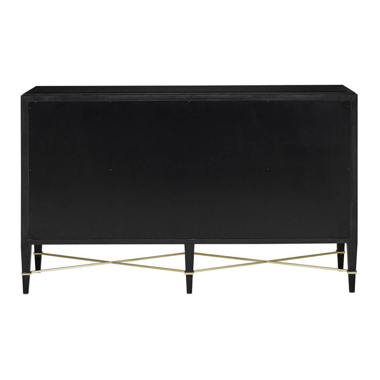 Sleek back view of the modern black sideboard with champagne hardware.