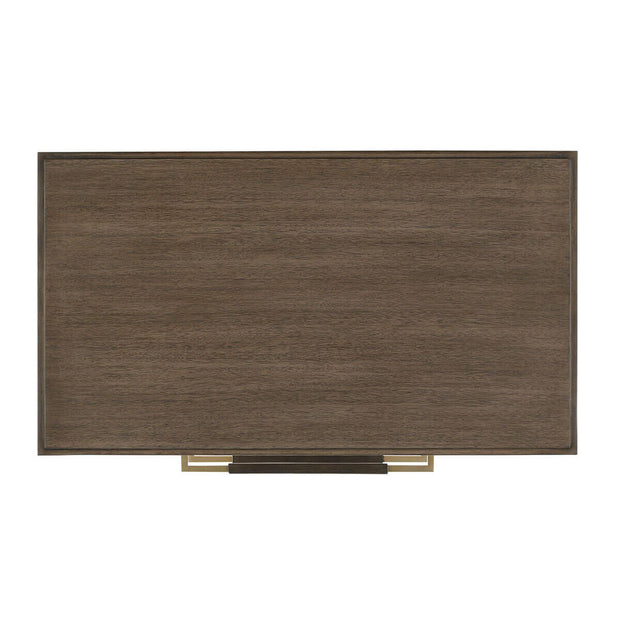 Top view of the wood grain details and linen-wrapped brass handles on the solid wood nightstand.