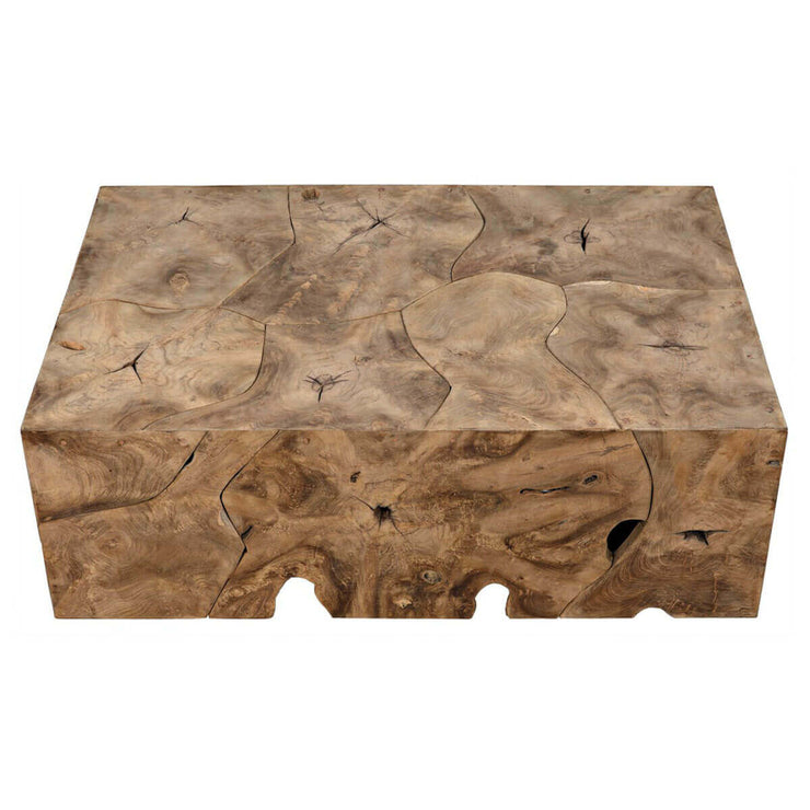 Teak wood coffee table with natural knot, imperfection, and wood grain details