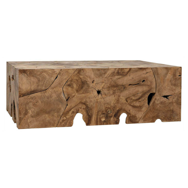 Natural looking, rectangle coffee table made from teak wood.