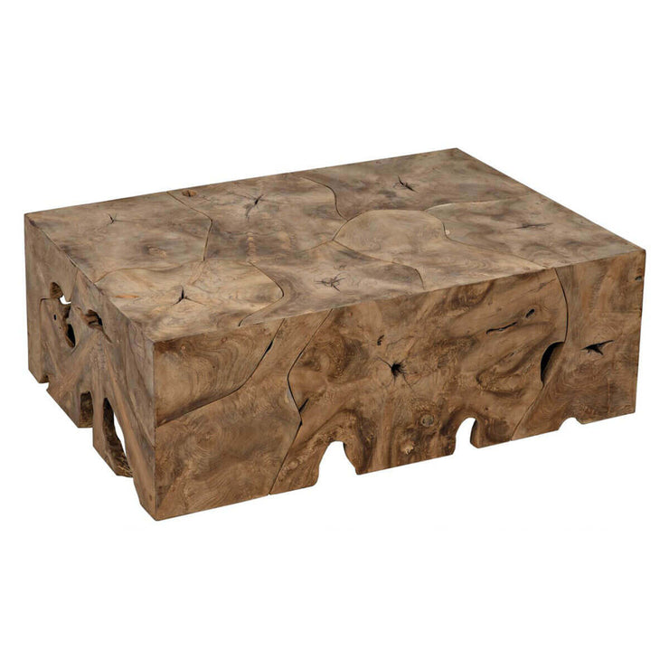 Rectangle coffee table made from teak wood with natural knots and imperfections.