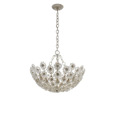 The Claret Chandelier is a bowl shaped pendant chandelier with a crystal, floral pattern and a short chain hanger in a burnished silver leaf finish.