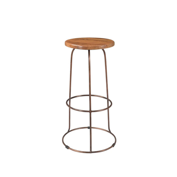 Backless bar stool with a reclaimed teak wood top and copper, pipe legs.