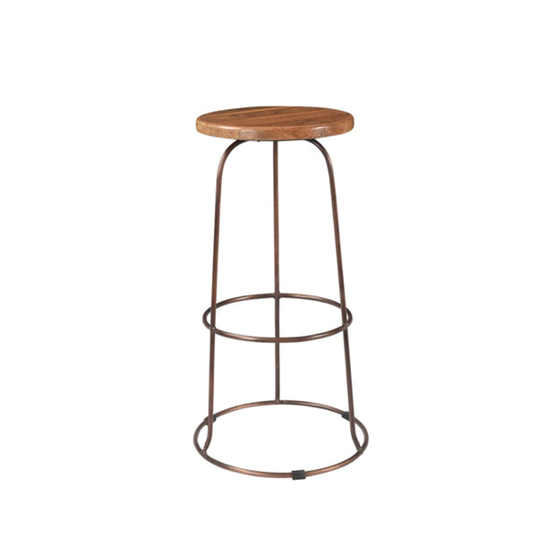 The Conwy Bar Stool has a hand-carved reclaimed teak seat and copper base.