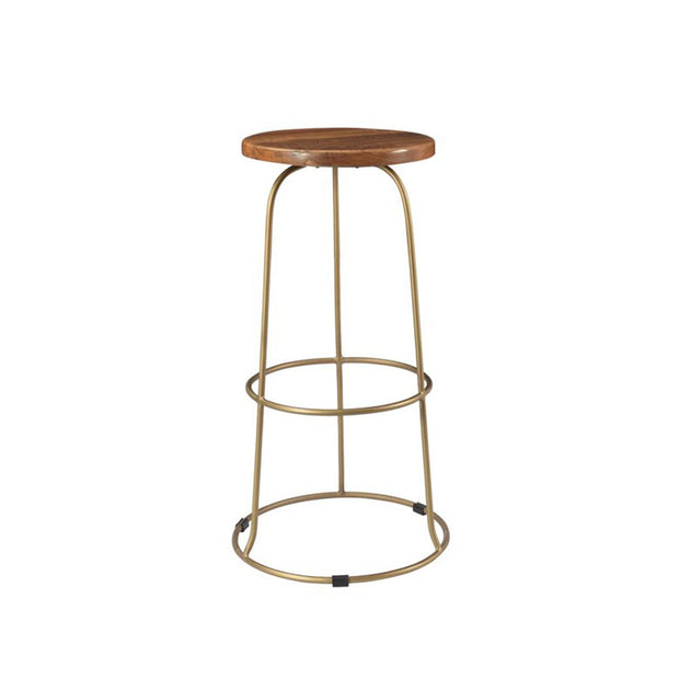 The Conwy Barstool has a hand-carved reclaimed teak seat and brass base.