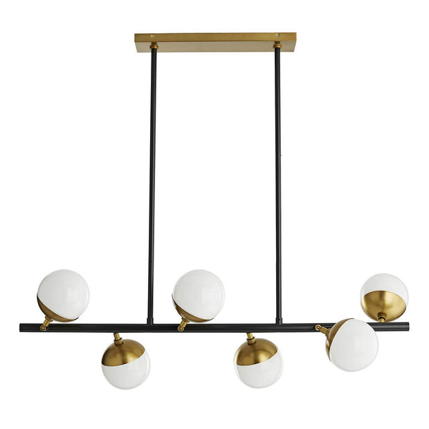 Lexington Chandelier with a bronze bar and asymmetrically placed opal glass speheres.