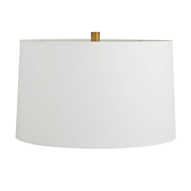 Off-white linen drum shade with cotton lining.