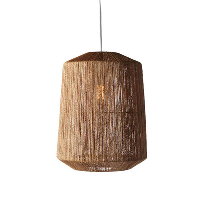 The Mandalay Pendant has a gem shape and is made of finely, woven jute.