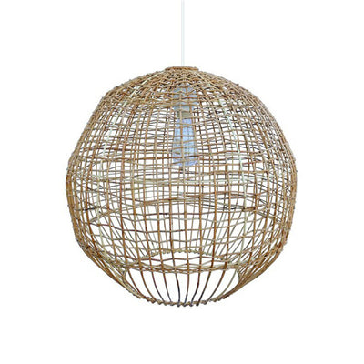 The Bourke Pendant is a round pendant made from woven, natural rattan with a modern look.