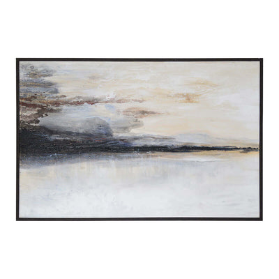 The Warran is a textured, abstract landscape painting with a black timber frame.