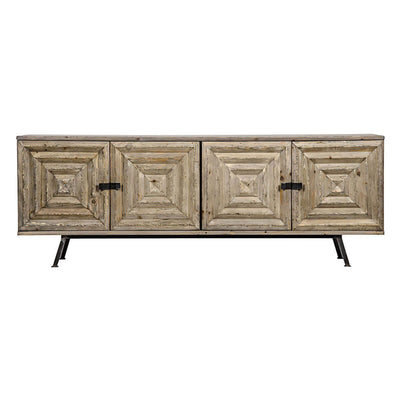 The Paria Sideboard has geometric carved doors with an antique look and contrasting dark metal hardware.
