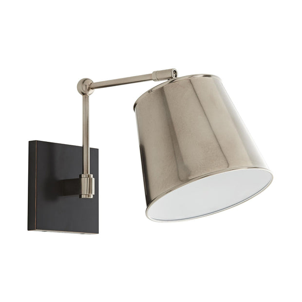The Polastsk Wall Sconce in a vintage silver finish with an adjustable shade.