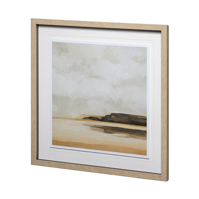 Sea landscape framed print with neutral tones.