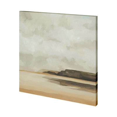 The Wattwanderung I (44 x 44) is an abstract landscape painting with neutral brown, black and sand.