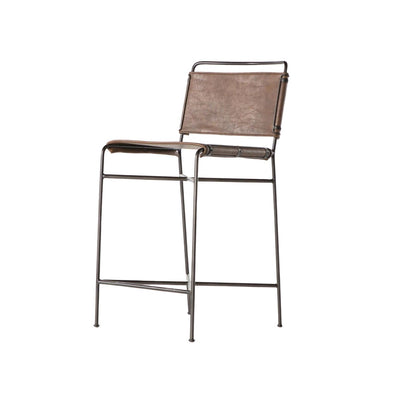 Modern counter stool with slim black steel tubing frame and distressed brown leather seat and backrest.