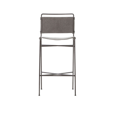 The Stowe Bar Stool has a simple steel tube frame and contoured stonewash grey cotton seat and backrest.