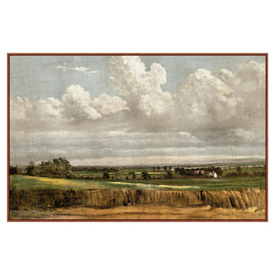Contemporary painting of a wheatfield with hand applied crackle finish.