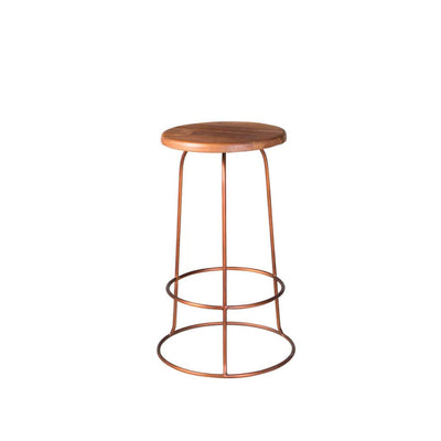 The Conwy Barstool has a hand-carved reclaimed teak seat and copper base.