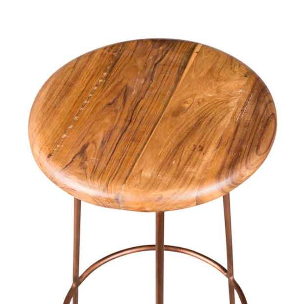 Reclaimed teak wood seat and copper legs on the classic backless stool.
