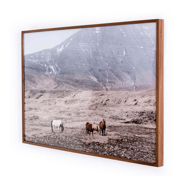 Landscape photo with wild horses printed on watercolour paper with a modern, walnut frame.