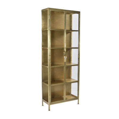 The Bran Cabinet has an iron frame with an antique brass finish and glass doors for a modern look.