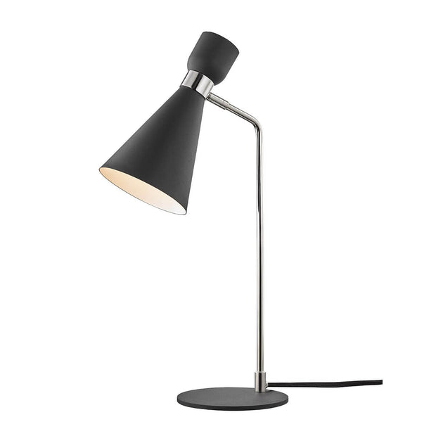 The Hudson Table Lamp in a midnight black finish and polished nickel hardware.
