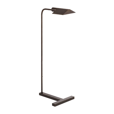 The William Pharmacy Floor Lamp that features an angled shade and sturdy, thick base. The light is finished in a dark bronze.