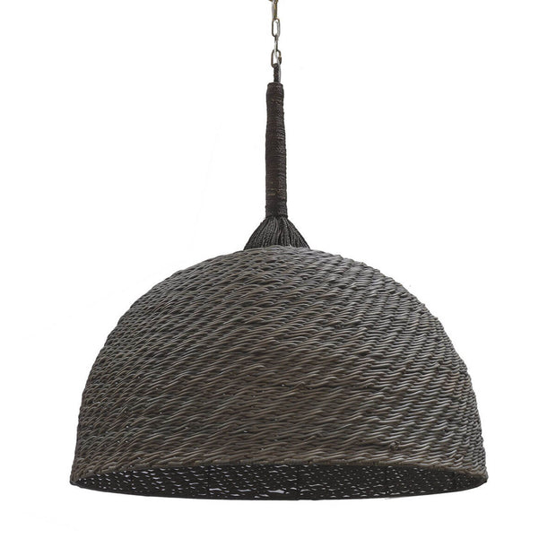 Kendari Oversized Pendant with grey wicker lamp shade and a hand-twisted rope hanger.
