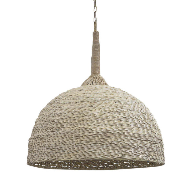 Kendari Oversized Pendant with a whitewash over wicker finish and a hand-twisted rope hanger.