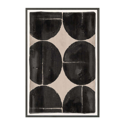 The Woven Tribe III is a contemporary mud painting with graphic black and white circles.