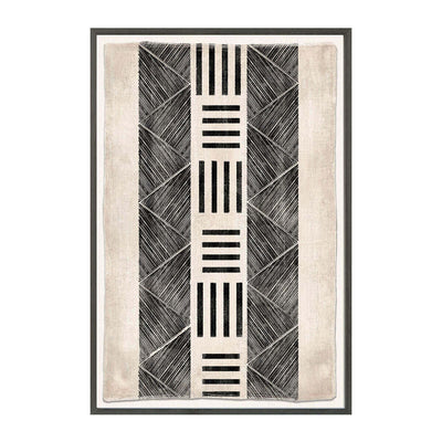 The Woven Tribe IV is a contemporary mud painting with intricate stitched edges in an Ivory Coast style.