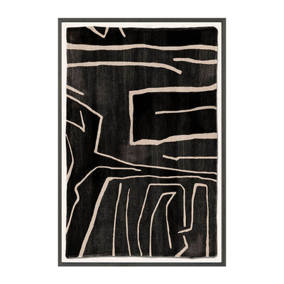 The Woven Tribe I is a contemporary mud painting with intricate stitched edges and abstract black and white artwork.