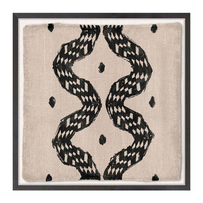 The Woven Tribe Medley III is a Ivory coast style contemporary mud painting with an abstract snake pattern in neutral tones.