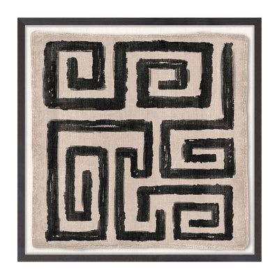 The Woven Tribe Medley II is a neutral abstract mud painting with intricately stitched edges and a tribal pattern.