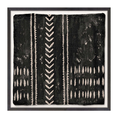 The Woven Tribe Medley IV is a contemporary mud painting with a graphic, tribal pattern in neutral tones.